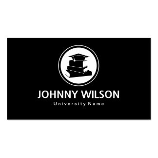 Black & White Mortar Board Graduate Student Pack Of Standard Business Cards