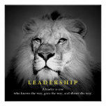 Black & White Motivational Leadership Quote Lion Poster