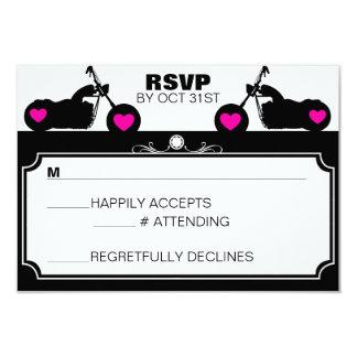 Black & White Motorcycle Biker Silhouette rsvp 9 Cm X 13 Cm Invitation Card