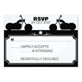 Black & White Motorcycle Biker Silhouette rsvp 3.5x5 Paper Invitation Card