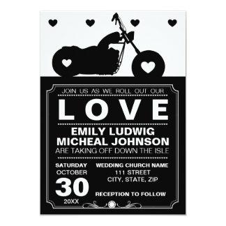 Black & White Motorcycle Biker Silhouette Wedding 13 Cm X 18 Cm Invitation Card