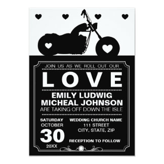 "Black & White Motorcycle Biker Silhouette Wedding 5"" X 7"" Invitation Card"