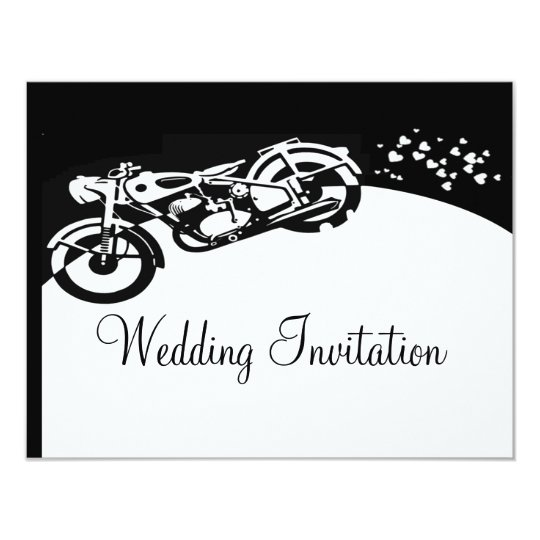 Black White Motorcycle Custom Wedding Invitation
