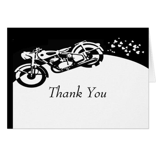Black White Motorcycle Custom Wedding Thank you Card