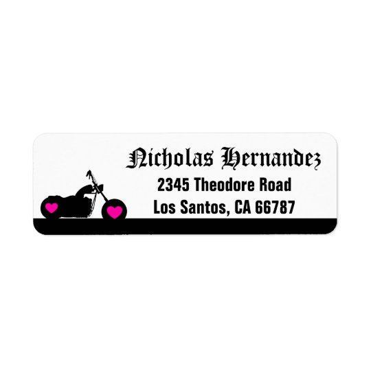 Black & White Motorcycle Silhouette Address Label