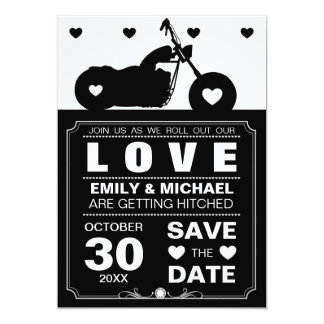 Black & White Motorcycle  Silhouette Save the Date 13 Cm X 18 Cm Invitation Card