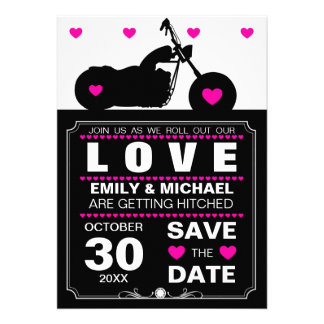 Black & White Motorcycle Silhouette Save the Date Card