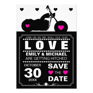 Black & White Motorcycle Silhouette Save the Date Custom Announcements