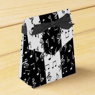 Black & White Musical Stripes Tent Favor Box