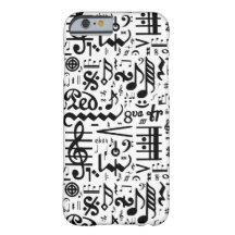Black White Musical Symbols iPhone 6 Case