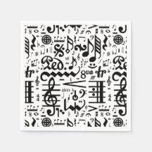 Black White Musical Symbols Paper Napkins