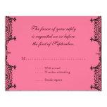 Black White n Hot Pink Fleur de Lis Damask RSVP 11 Cm X 14 Cm Invitation Card