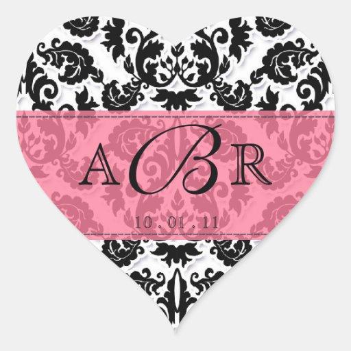 Black White n Hot Pink Fleur de Lis Damask Sticker