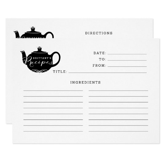 Black & White Name Monogram Tea Pot Recipe Card