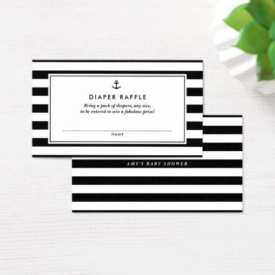 Black & White Nautical Baby Shower Diaper Raffle