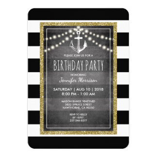 Black White Nautical Stripe Birthday Party Card