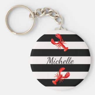 Black White nautical stripes and red lobsters Key Ring