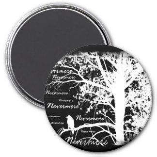 Black & White Negative Nevermore Raven Silhouette Magnet
