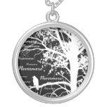 Black & White Negative Nevermore Raven Silhouette Round Pendant Necklace