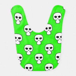 Black White Neon Green Skulls Pattern Bibs