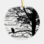 Black & White Nevermore Raven Silhouette