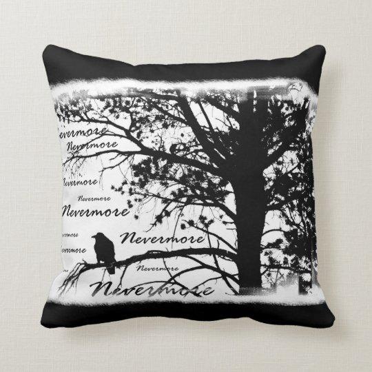 Black & White Nevermore Raven Silhouette Cushion