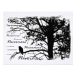 Black & White Nevermore Raven Silhouette Personalized Announcements