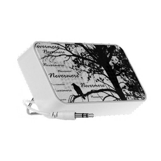 Black & White Nevermore Raven Silhouette iPhone Speakers