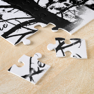 Black & White Nevermore Raven Silhouette Jigsaw Puzzle