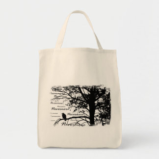 Black & White Nevermore Raven Silhouette Tree