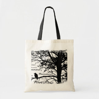 Black & White Nevermore Raven Silhouette Tree Budget Tote Bag