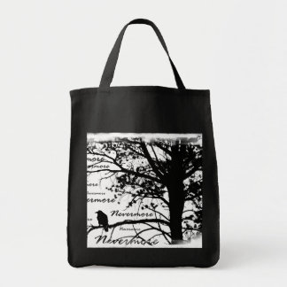 Black & White Nevermore Raven Silhouette Tree Grocery Tote Bag