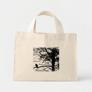 Black & White Nevermore Raven Silhouette Tree Mini Tote Bag