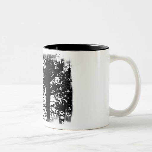 Black & White Nevermore Raven Silhouette Tree Mugs