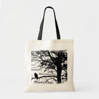 Black & White Nevermore Raven Silhouette Tree Bag