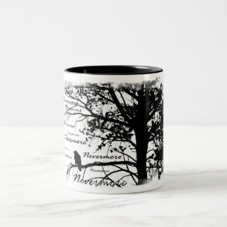 Black & White Nevermore Raven Silhouette Tree Two-Tone Mug