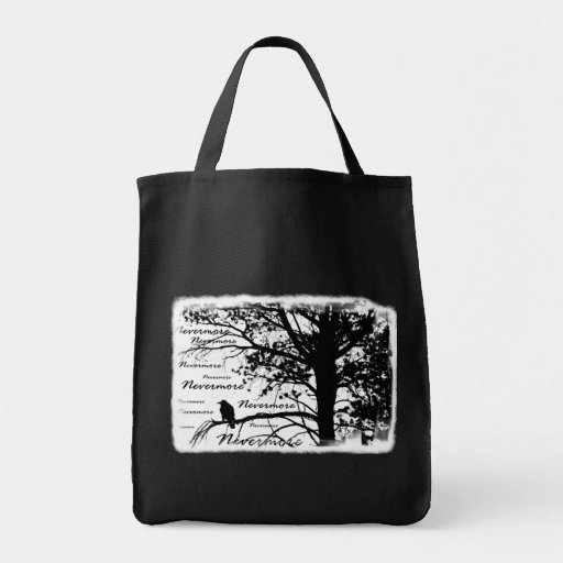 Black & White Nevermore Silhouette Raven Bag