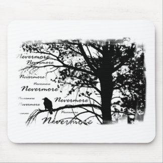 Black & White Nevermore Silhouette Raven Mouse Mat