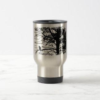 Black White Nevermore Silhouette Raven Mug