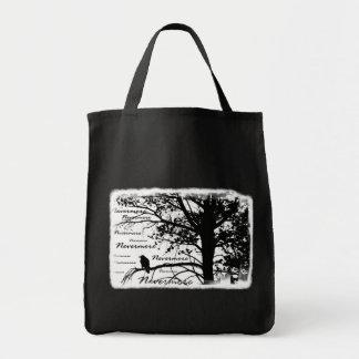 Black & White Nevermore Silhouette Raven Canvas Bags