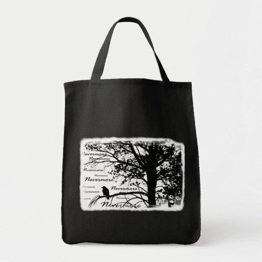 Black & White Nevermore Silhouette Raven Tote Bag