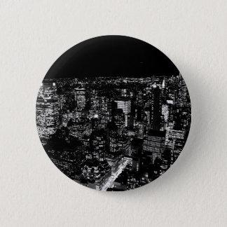 Black & White New York City Night 6 Cm Round Badge