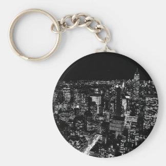Black & White New York City Night Key Ring
