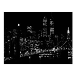 Black & White New York City Night Postcard
