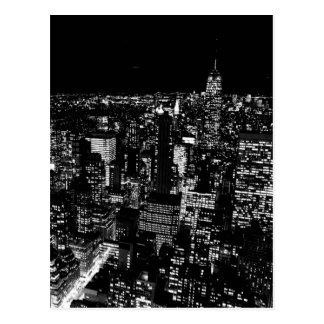 Black & White New York City Night Postcard