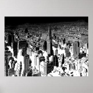 Black White New York City Panorama Poster