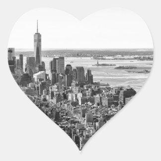 Black White New York City Skyline Heart Sticker