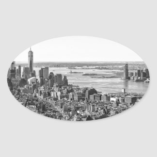 Black White New York City Skyline Oval Sticker
