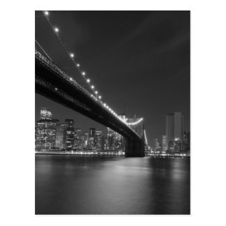 Black White New York City Skyline Postcard