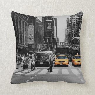 black & white new york cushion taxi cab yellow throw pillow